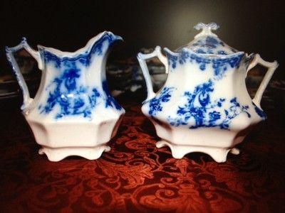 Grindley Flow Blue China Janette pattern ~c1891 54 pieces