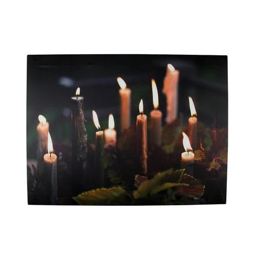 "LED Lighted Flickering Candles with Fall Leaves Canvas Wall Art 11.75"""" x 15.75"""""