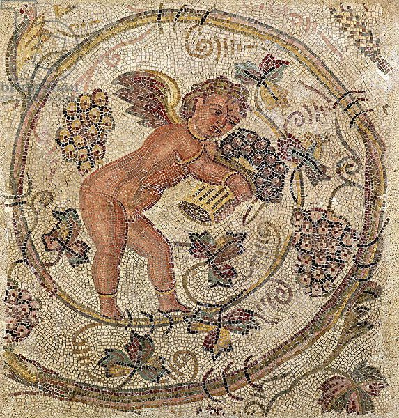A cupid picking grapes, fragment of pavement from Carthage, Tunisia (mosaic). Roman, (4th century AD)