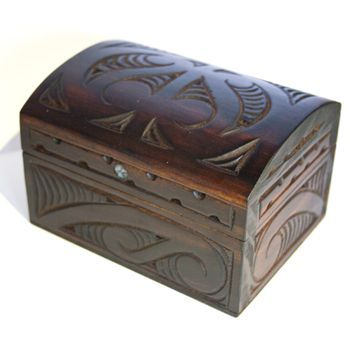 New Zealand Maori Hand Carved Matai Box with Rounded Hinged Lid http://www.silverfernz.com/146-maori-hand-carved-matai-box-with-rounded-hinged-lid.htm