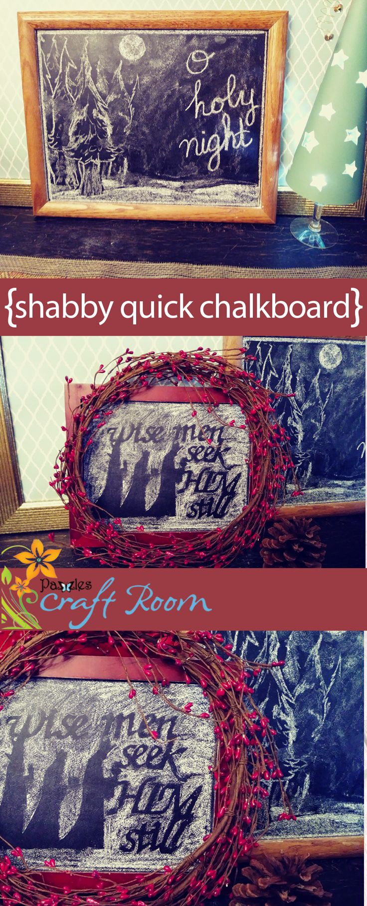 Create your own chalkboard using chalkboard vinyl and a frame, then create a beautiful art using chalk and vinyl as a stencil!