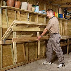 quick and easy garage workbench from metal shelving units - Google Search