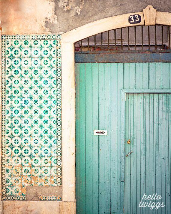 Blue door photo, Portugal Photos,Travel Photography, Wall Decor, Europe Photos, Lisbon - Blue Door, Pink Wall via Etsy