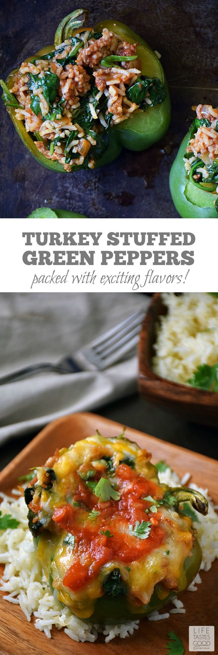 Green Peppers | by Life Tastes Good are stuffed with a mixture of turkey sausage, spinach, fresh herbs & Basmati rice in a spicy salsa topped off with ooey gooey cheese are easy to make and packed full of exciting flavors. #stuffedpeppers #cheeserecipe #HolidayRiceRecipes