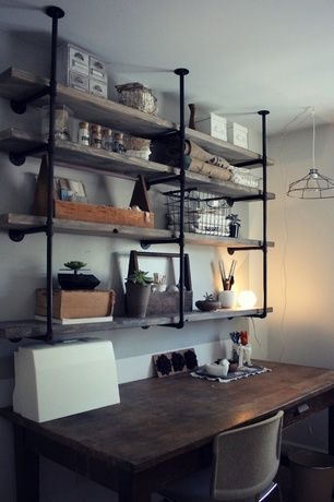 Rustic Home Office with Built-in bookshelf, Raw wood shelves, Industrial style shelving, Galvanized piping, Standard height