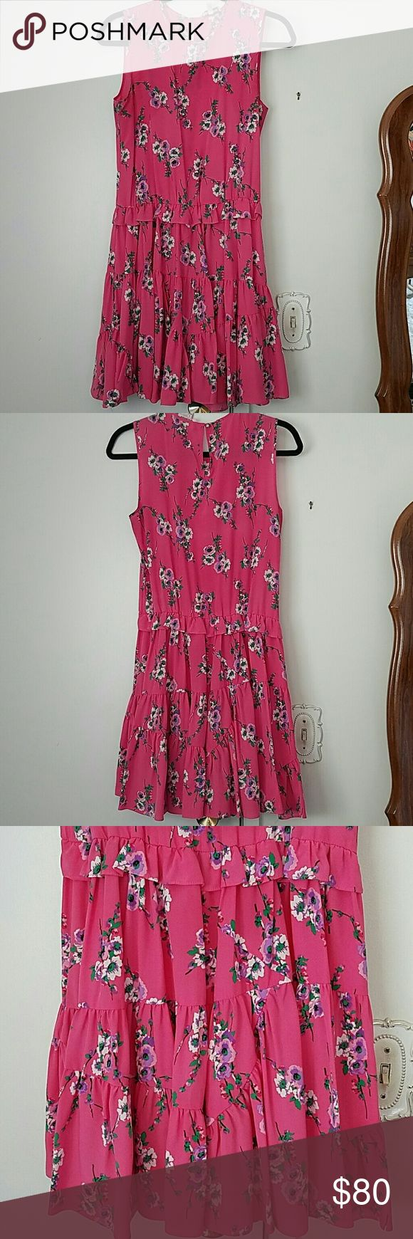 Juicy Couture pink floral dress High neck line classy pink floral dress. 100% silk Juicy Couture dress. Worn maybe twice. Juicy Couture Dresses Midi