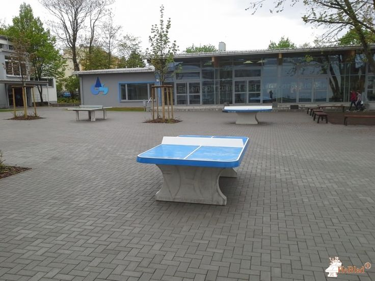 Pingpongtafel Afgerond Blauw bij IGS Kurt Schumacher in Ingelheim