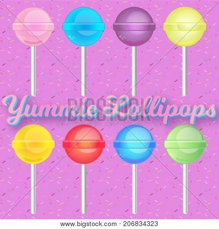 A set of lollipops in different flavours on a sprinkles background. EPS vector