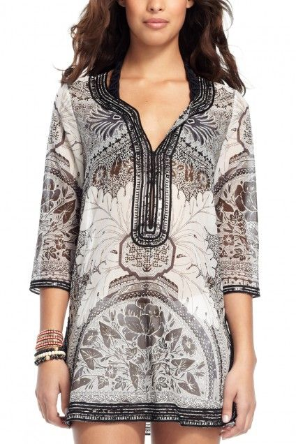 Liddy Batik Island Printed Tunic. Italian Ratti print is inspired by Islands with a touch of Asian flair.