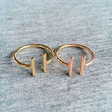 Gold Double Cylinder Metal Bar Open Adjustable Ring Women Fashion Summer Minimalist Art Jewelry Wholesale R1289(China (Mainland))