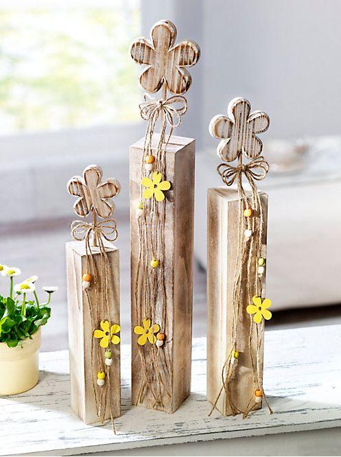 Holzblume auf Sockel, 3er-Set