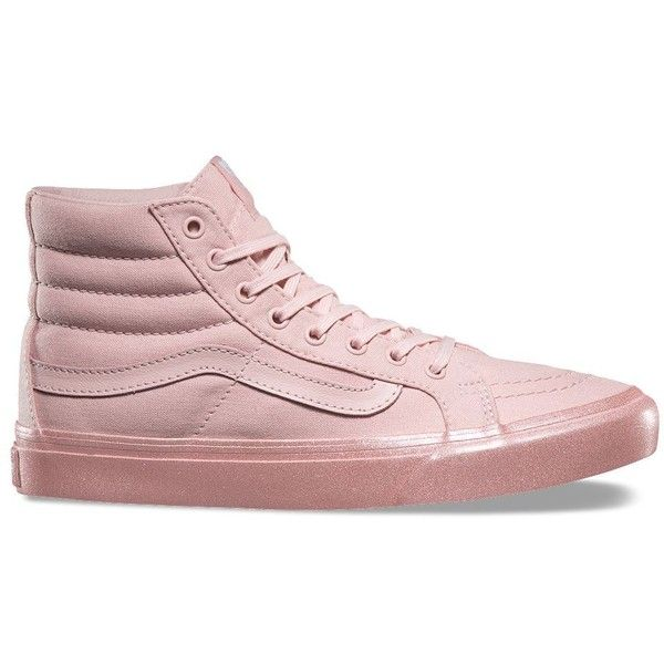Vans Metallic Glitter SK8-Hi Slim ($65) ❤ liked on Polyvore featuring shoes, sneakers, pink, metallic high top sneakers, vans high tops, pink glitter shoes, lace up shoes and pink shoes