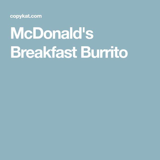 McDonald's Breakfast Burrito