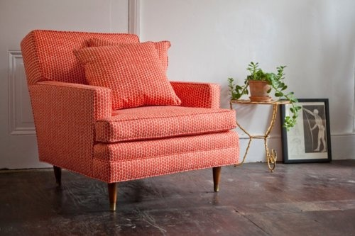 A mid-century modern armchair & pillow for a client. Re-done in Hable Construction's Clementine Beads.