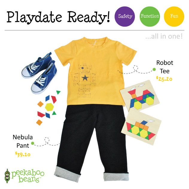 Boys Robot Tee - Now $25.20 (reg $36.00)  Nebula Pant - Now $39.10 (reg.$46.00)! | Peekaboo Beans - playwear for kids on the grow! | Contact your local Play Stylist or shop On-Vine at www.peekaboobeans.com | #PBPlayfulPairings