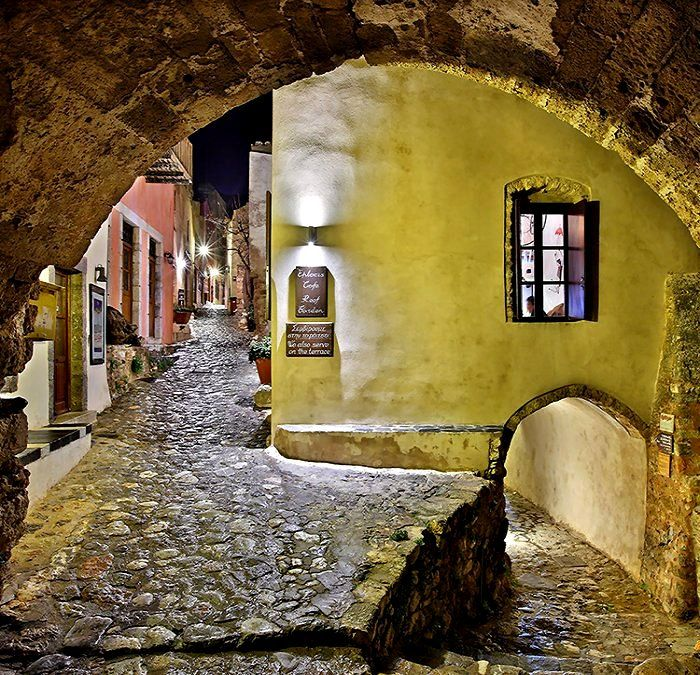 Night in Monemvasia, Peloponnese, Greece