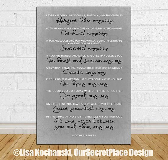 Do It Anyway Inspirational Print Chalkboard Wall Art Decor Mother Teresa quote Mother Theresa Quote Gift for Her Office Art Graduation gift