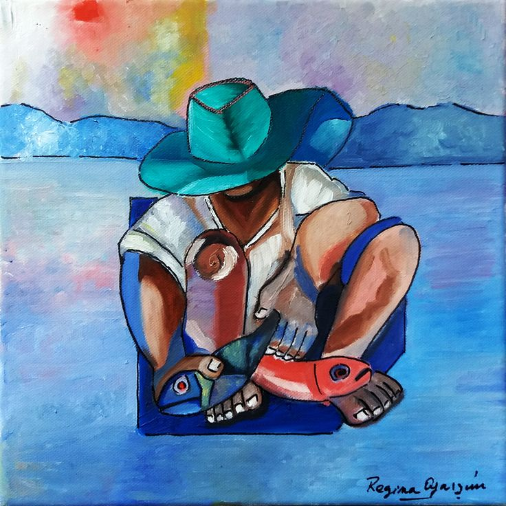 Regina Oyarzún Pescador, óleo sobre tela de 30x30 (Réplica)