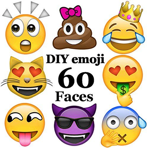 Ivenf 60 Faces Diy Extra Large Fun Emoji Face Stickers Teacher Reward Stickers For Prizes Kids Party Supplies Favors Emoji Party Kids Party Supplies Emoji Diy