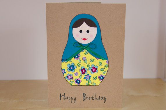Cute Birthday Card - Fabric - Birthday Card for Mum - Mom Cards - Happy Birthday Card for her - Hand Made using Fabric - Russian Doll Card
