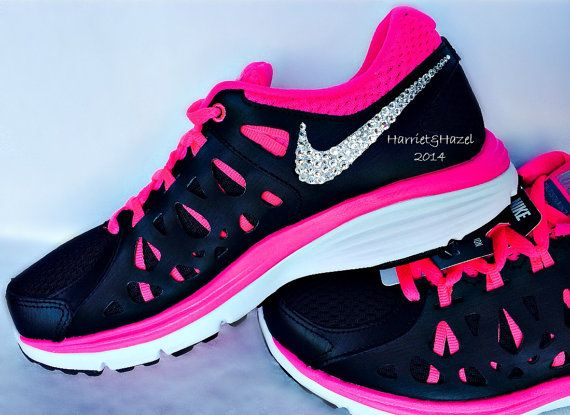 Nike Dual Fusion tennis shoes in Black/Pink/White with Swarovski crystal detail on Etsy, $160.00
