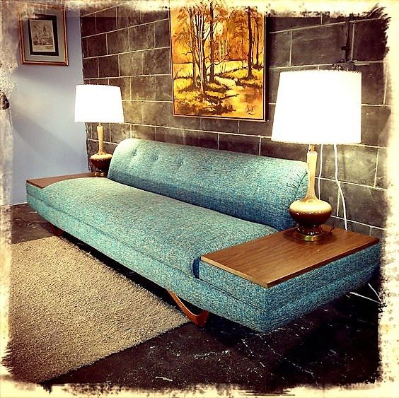 Adrian Pearsall Tweed Sofa, with built-in End Tables