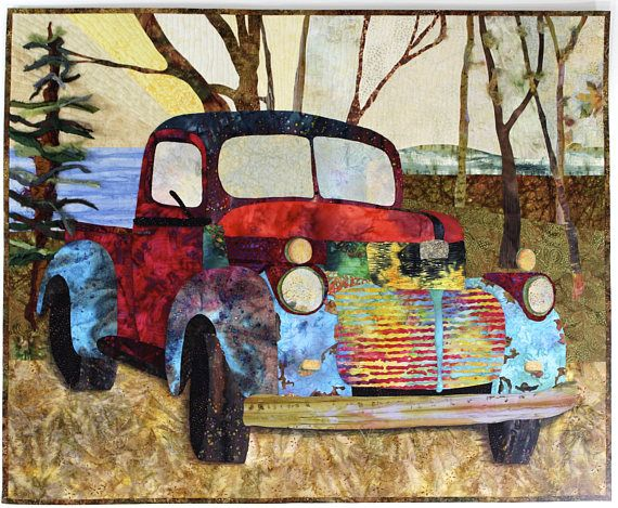 Old Truck Art Quilt 45 X 36 Car Lovers Gift Antique Auto. This and other original design fiber art is available in my Etsy Shop
