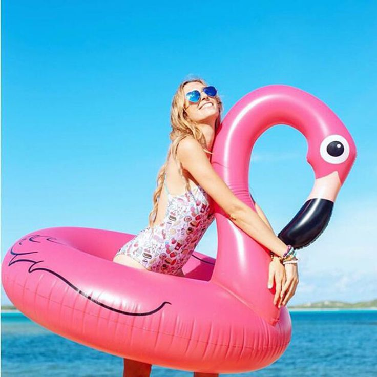 120CM Hot Sale Inflatable Flamingo Pool Toy Float Inflatable Pink Cute Ride-On Pool Swim Ring for Water Holiday Fun Party - € 17,91