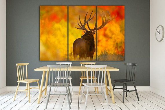 Deer canvas Stag Deer decor Animal decor Sunset landscape Deer Animal canvas Deer wall decor Deer poster Wild deer Stag wall art Bedroom art