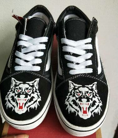 b9df31eb9681c5 Vans Old Skool White Black Wolf Canvas Shoe DT 2512X9 Vans For Sale  Vans