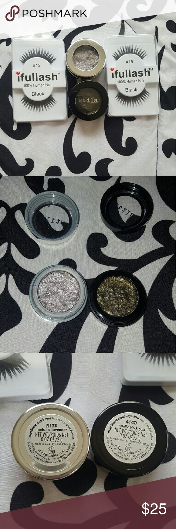 🌟Sale🌟Stila Magnificent metal bundle *Selling because I dont know how to use these lol* *Swatched only* *Also includes two pairs of lashes 100% human hair, can be used multiple times* (Great lashes for beginners, since lash band isn't so thick) *Stila Magnificent metal eyes in metallic lavender and magnificent metals eye liner in metallic black gold(based on color this could also be used when creating a smokey eye)* *Willing to trade* Stila Makeup Eyeshadow