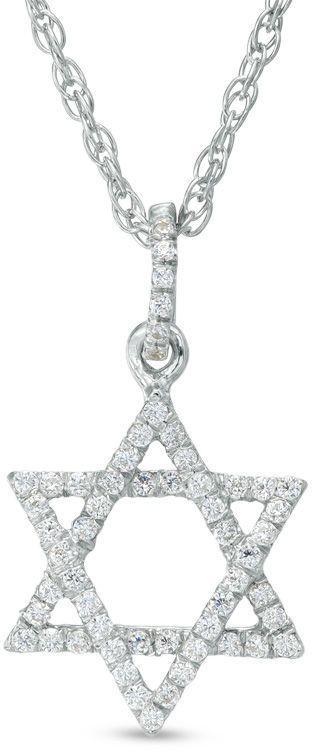 Zales 1/6 CT. T.W. Diamond Star of David Pendant in Sterling Silver