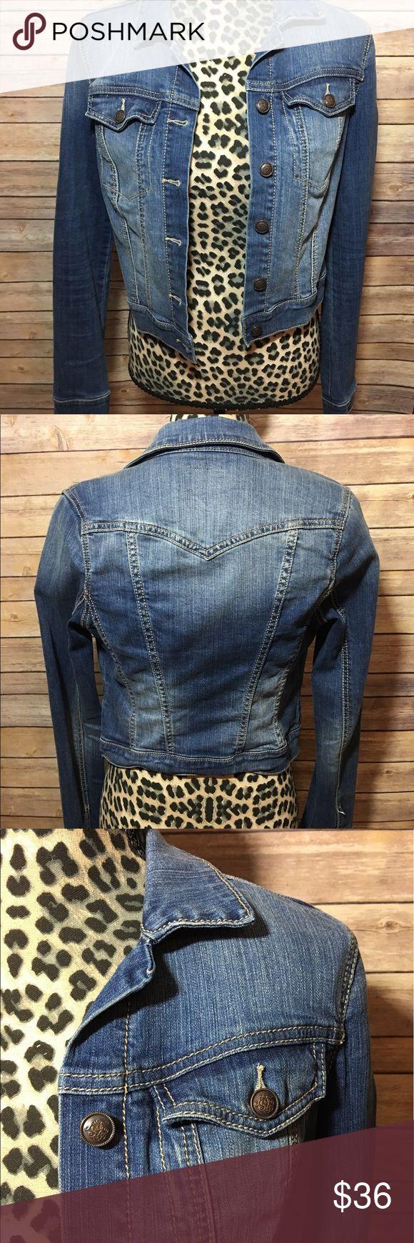 Jessica Simpson Blue Jean Jacket Sz S Women's Half Medium Wash Cotton Spandex Jacket Jessica Simpson Jackets & Coats Jean Jackets