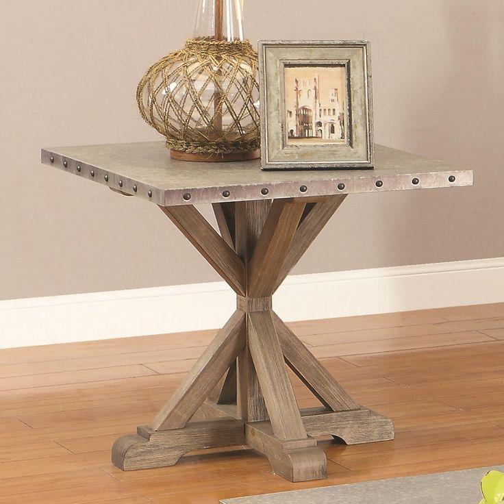 Coaster 70374 Rustic End Table w/ Nailhead Trim - Coaster Fine Furniture