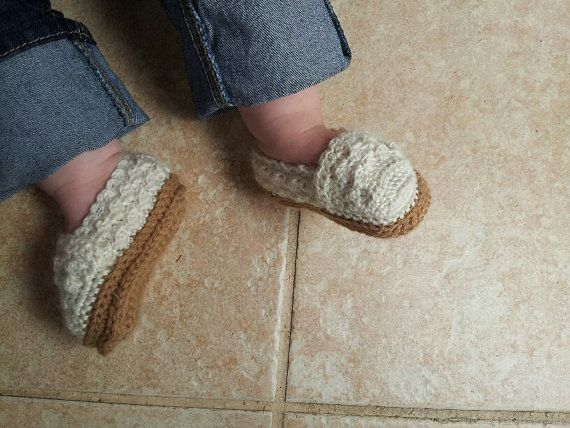 Lace Baby Girl Shoes / Boutique Shoes / Crochet in Modern Style Espadrilles / Cream and tan Baby Girl Crochet Shoes / with attached elastic on Etsy, $23.87