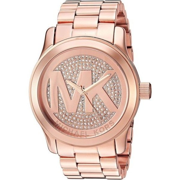 Pre-owned Michael Kors Runway MK5661 Rose Gold Stainless Steel Quartz... ($99) ❤ liked on Polyvore featuring jewelry, watches, pre owned watches, rose gold tone jewelry, rose quartz jewellery, preowned jewelry and quartz jewelry