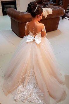 Must Haven 2018: 15 Lace Flower Girl Dresses ❤ lace flower girl dresses blush illusion sleeves with bow vintagerosebyhannahaj ❤ Full gallery: https://weddingdressesguide.com/lace-flower-girl-dresses/ #Weddingslace