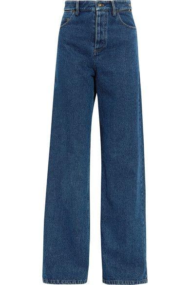 Y/PROJECT - Cutout High-rise Wide-leg Jeans - Dark denim -