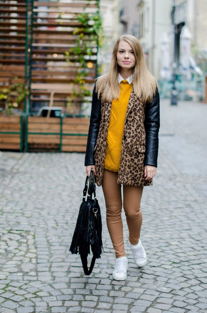 camel pants leopard coat white sneakers fringed bag