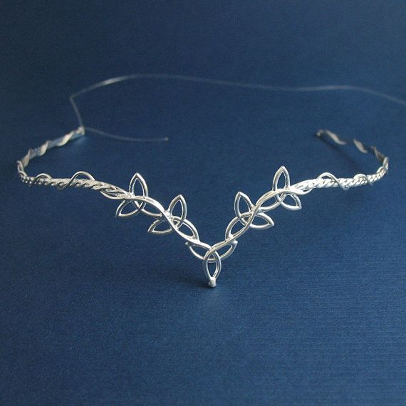 Celtic Wedding Bridal Circlet Headpiece in Sterling silver, Trinity Knot Design, Handmade