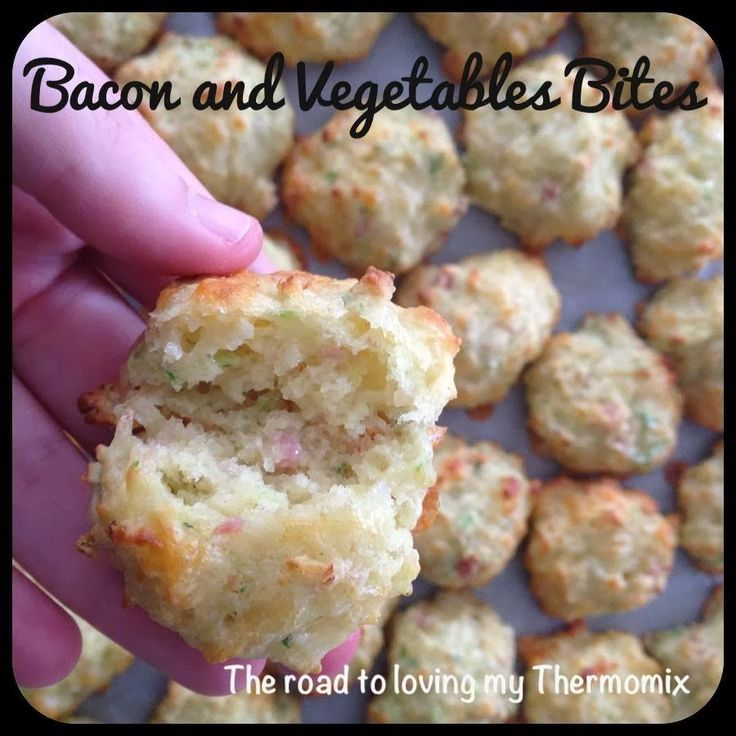 The road to loving my Thermomix: Bacon and Vegetable Bites 1 small zucchini 1 carrot 1 potato 1 onion or 5 spring onions A few sprigs of parsley 6 slices of short cut bacon, diced (or chopped in Thermomix) 150g grated cheese 20g milk 2 egg 180g self raising flour 1 tabs stock paste concentrate