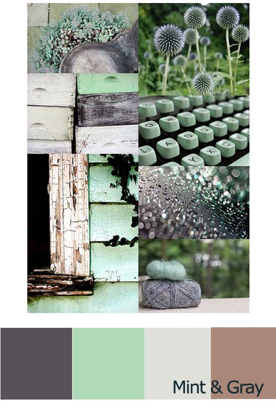 Mint & Gray color scheme.  I like this for the kitchen area