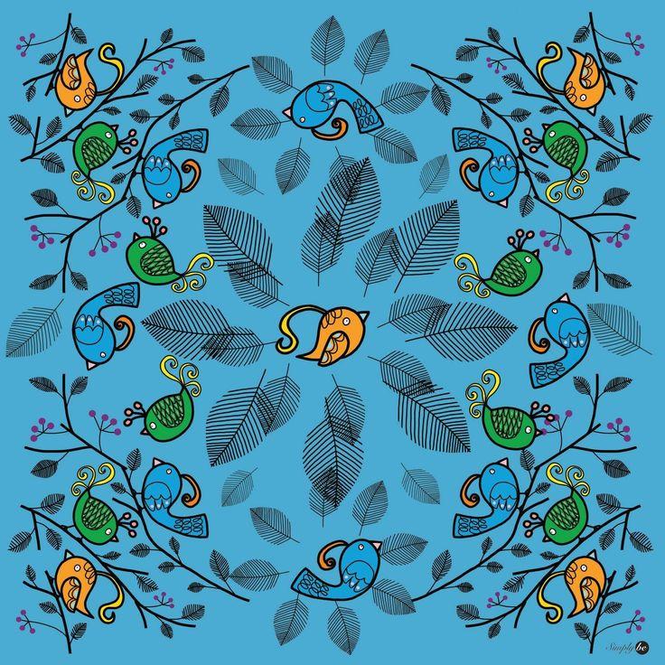 Scarf by Simply be, size 100x100 cm., Silk Satin fabric, Bird - light blue