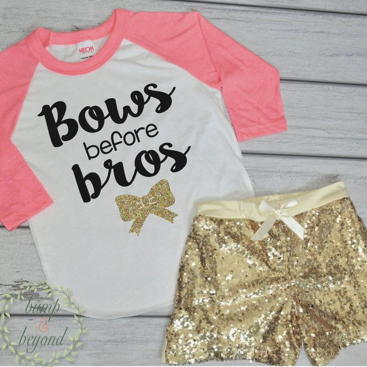 Bows Before Bros Shirt Toddler Raglan Baby Girl Clothes Gold Sequin Shorts Hipster Baby Clothes Girl Gift Toddler Girl Clothing 097 #baby_girl_clothes #bows_before_bros #Children