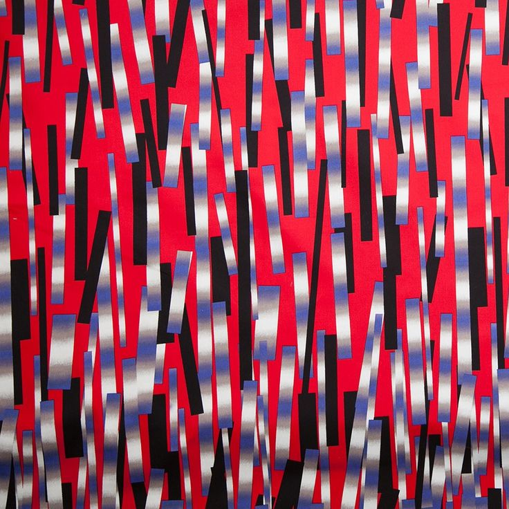 Red/Blue/Black Abstract Geometric Stretch Cotton Sateen Panel Fabric by the Yard | Mood Fabrics