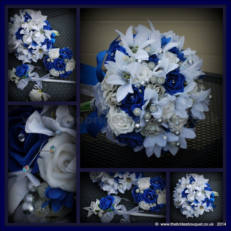 Winter Wedding Flowers - Royal blue, silver and white bridal flowers - a special order for a December Bride with silver berries, cones, roses, pointsettia and sparkle!