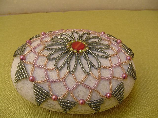 Beaded netted Stone