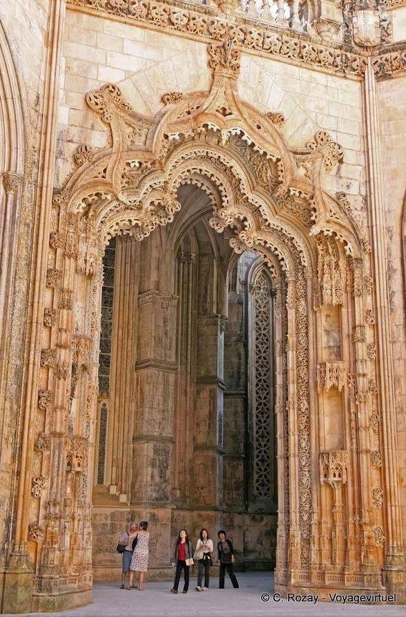 GOTHIC, Portugal - Church of Santa Maria da Vitória at Batalha Monastery, begun 1386...