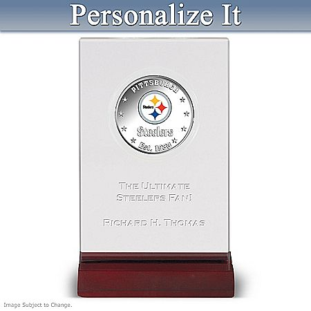 NFL Licensed Pittsburgh Steelers Silver Dollar Coin with Personalized Display