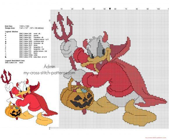 Disney Donal Duck Devil Halloween costume cross stitch pattern
